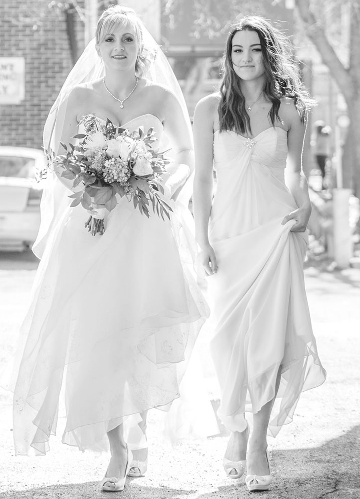 bride and bridesmaid modelling gowns