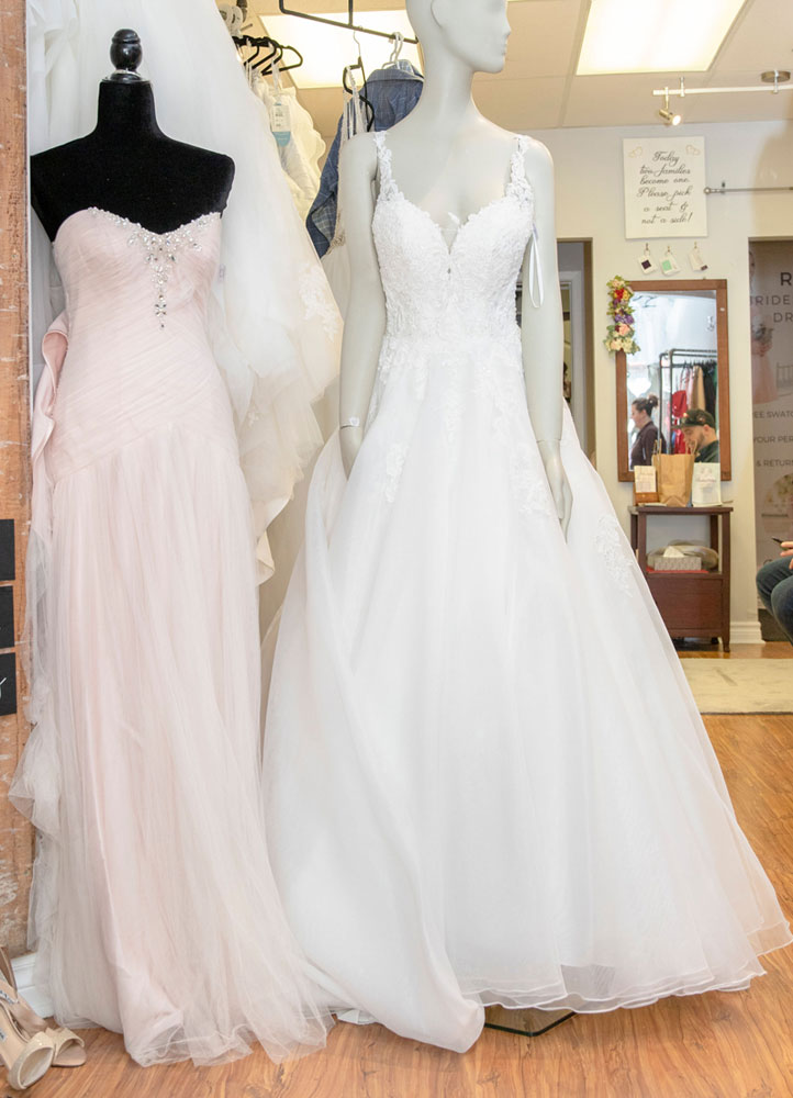 wedding gowns on display