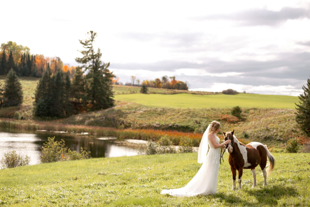bride in wedding gown, petting small horse near a pond